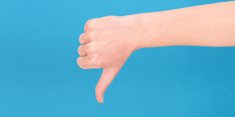 Thumbs down image of hand